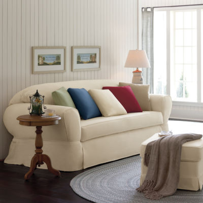 wing chair slipcover sure fit cotton duck ottoman slipcover