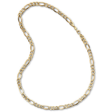 "jcpenney.com | Mens 10K Yellow Gold 7.5mm 22"" Hollow Figaro Chain Necklace"