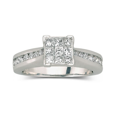 1 ct t w engagement ring 10k white gold jcpenney