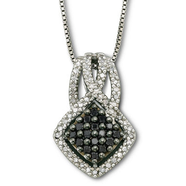 jcpenney.com | Sterling Silver Color-Enhanced Black Diamond Pendant Necklace