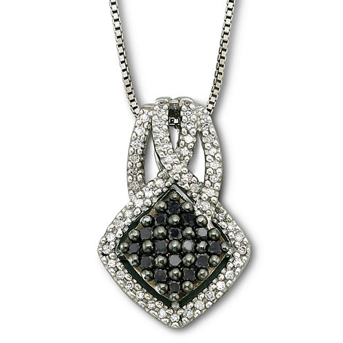 Sterling Silver Color-Enhanced Black Diamond Pendant Necklace