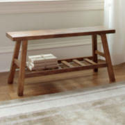 Wood Accent Storage Bench