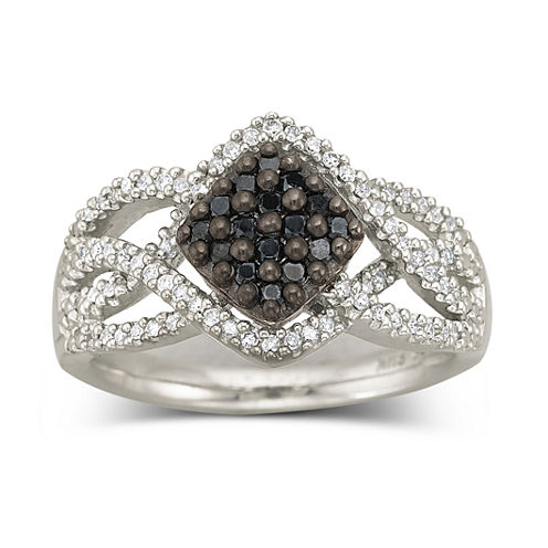 Sterling Silver Color-Enhanced Black Diamond Ring