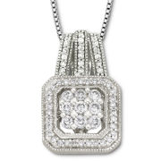 1/2 CT.T.W. Diamond & Sterling Silver Pendant Necklace