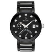 Bulova® Mens Black Diamond-Accent Watch