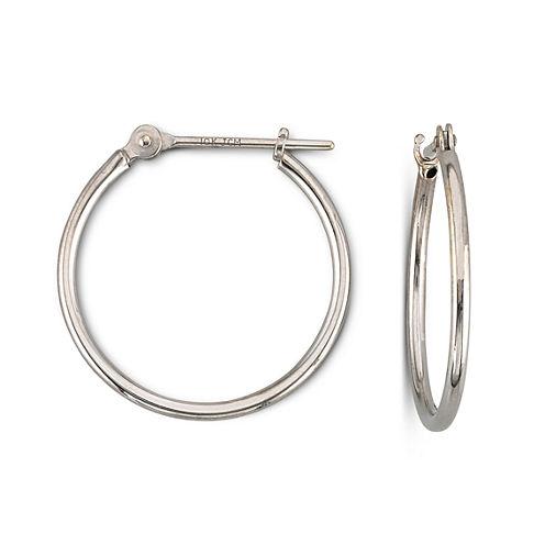 White Gold Earrings, 18mm Hoop 10K