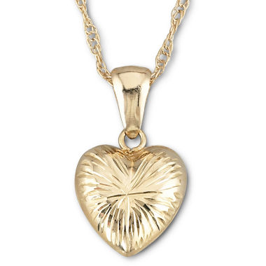 jcpenney.com | 10K Gold Puffed Heart Pendant Necklace