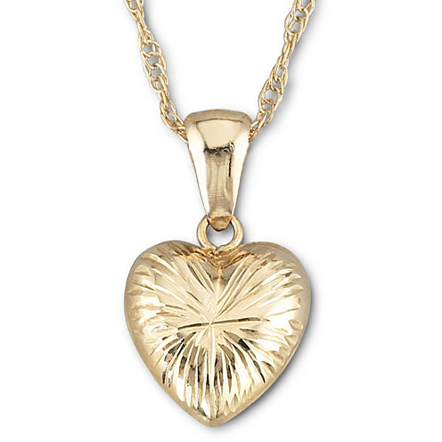 10K Gold Puffed Heart Pendant Necklace