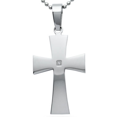 jcpenney.com | Mens Diamond Accent Stainless Steel Cross Pendant Necklace