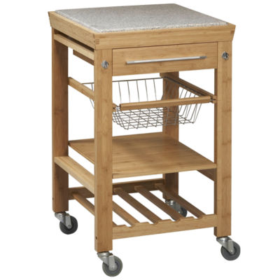 Small Space Bamboo Rolling Kitchen Cart With Granite Top