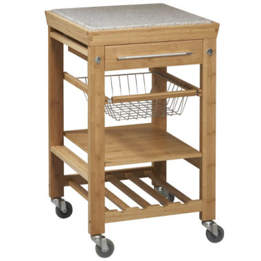 jcpenney.com | Small Space Bamboo Rolling Kitchen Cart with Granite Top