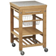 Bamboo Cuisine Kitchen Cart w/ Granite Top