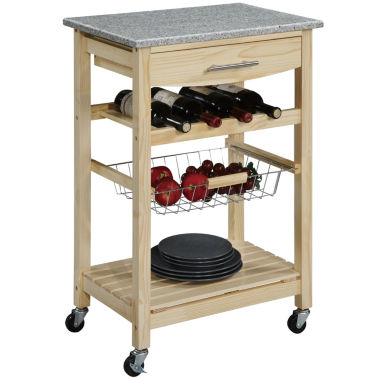 kitchen cart, granitetop cart w/ wine rack  jcpenney,