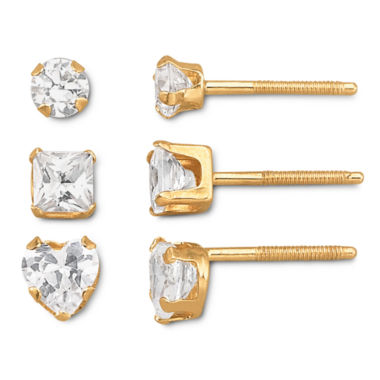 jcpenney.com | Childs 14K Gold Cubic Zirconia Stud Earring Set