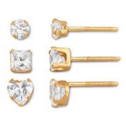 Childs 14K Gold Cubic Zirconia Stud Earring Set