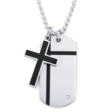 jcpenney.com | Mens Cross Dog Tag Pendant Necklace