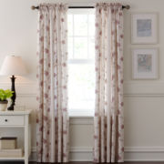 Fortune Embroidered Rod-Pocket Curtain Panel