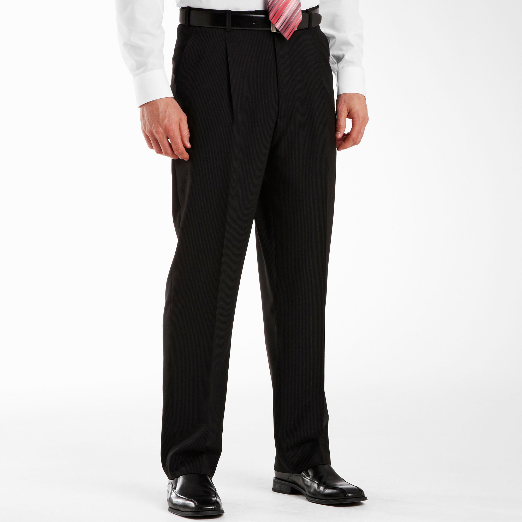 Adolfo Pleated Black Striped Suit Pants