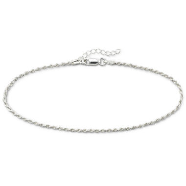 "jcpenney.com | Sterling Silver 10"" 2mm Rope Ankle Bracelet"