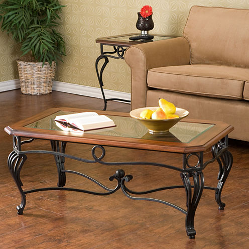"Trellise Glass Top 42"" Rectangular Coffee Table"