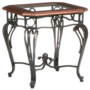 Trellise Glass Top End Table
