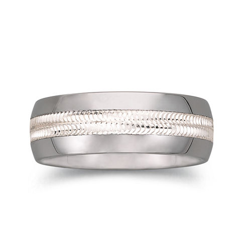 Tungsten Wedding Band, Mens 8mm Comfort Fit