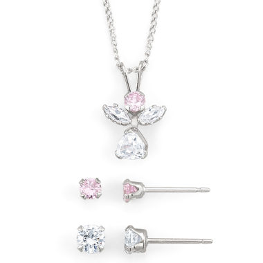 jcpenney.com | Girls Pink & White Cubic Zirconia Angel Jewelry Set