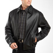 Excelled® Nappa Leather Self-Elastic Bomber Jacket–Big & Tall