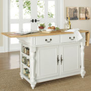 Drop-Leaf Kitchen Island with Butcher's Block Top