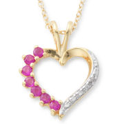 Lab-Created Ruby & Cubic Zirconia Heart Pendant