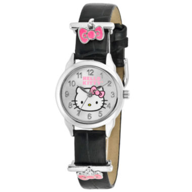 jcpenney.com | Hello Kitty® Pink Bow Charm Black Leather Watch