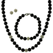 Genuine Onyx & Crystal 3-Piece Set