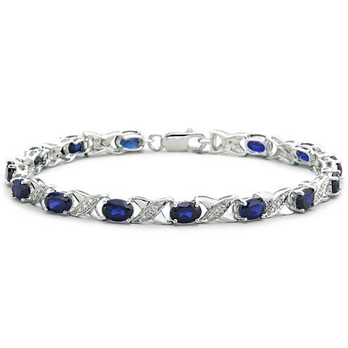 Lab-Created Sapphire & Diamond-Accent Bracelet
