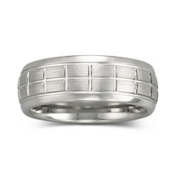 BEST VALUE! Mens 8mm Engraved Cobalt Ring