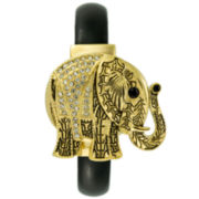 Crystal Accent Hidden Dial Elephant Cuff Watch