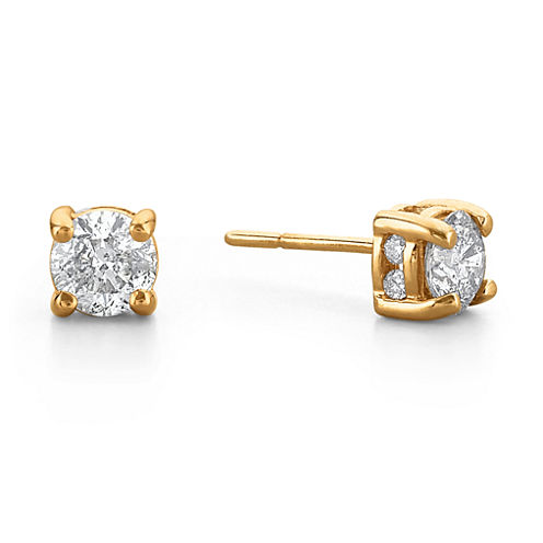 1 CT. T.W. Diamond Swirl 14K Yellow Gold Stud Earrings