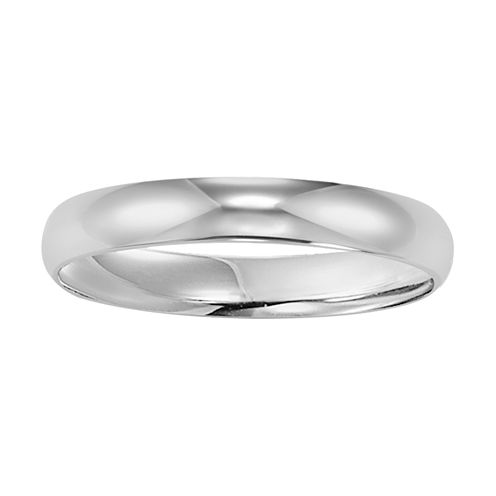 Mens 10K White Gold 4mm Wedding Band