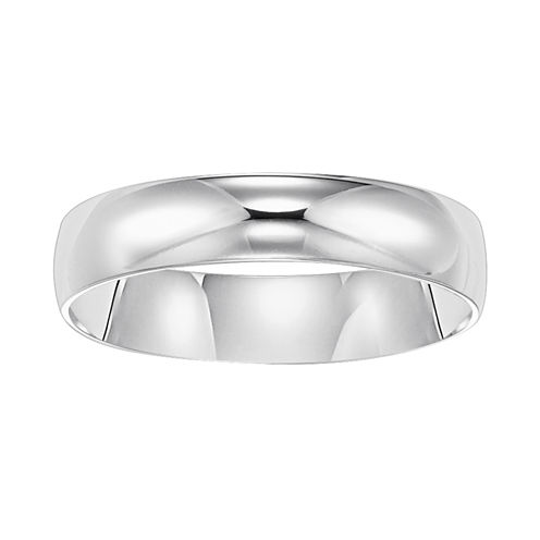 Mens White Gold Ring, 5mm 10K