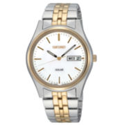 Seiko® Mens Two-Tone Round-Dial Solar Watch SNE032