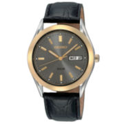 Seiko® Men's Black Leather Strap Solar Watch