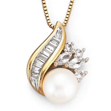 jcpenney.com | Cultured Freshwater Pearl 14K Yellow Gold over Silver Pendant Necklace