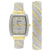 Women's Two-Tone Rhinestone Bangle Watch Set