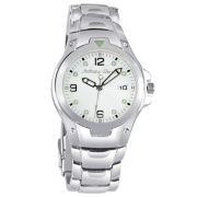 Mens Personalized Silver-Tone Bracelet Watch