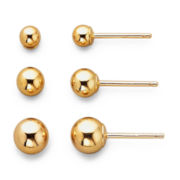 Earring Set, 14K Yellow Gold 3-Pair Studs