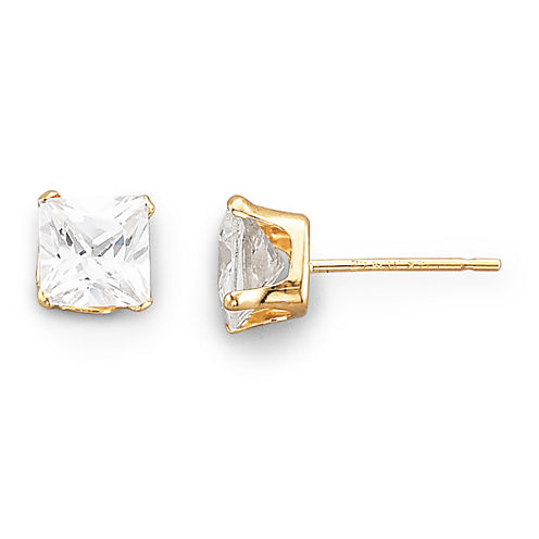5mm Stud Earrings, 14K Cubic Zirconia Princess Cut