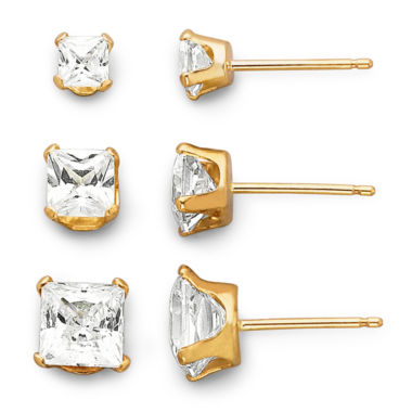 jcpenney.com | 14K Yellow Gold Cubic Zirconia 3-pr. Stud Earring Set