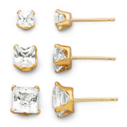 14K Yellow Gold Cubic Zirconia 3-pr. Stud Earring Set