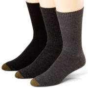 Gold Toe® 3-pk. Casual Cotton Fluffies® Crew Socks-Big & Tall