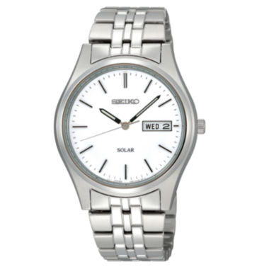 jcpenney.com | Seiko® Mens Silver-Tone Dial Stainless Steel Solar Watch SNE031