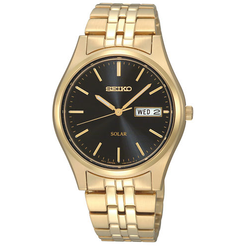 Seiko® Mens Black Dial Gold-Tone Stainless Steel Solar Watch SNE044